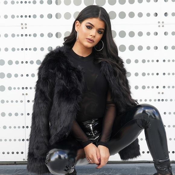 c14b6f204120 Style Link Miami Jackets & Coats | Black Cropped Faux Fur Jacket ...